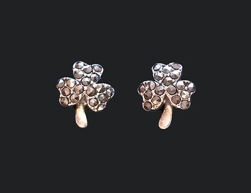 Marcasite Shamrock Earrings by anu of Ireland