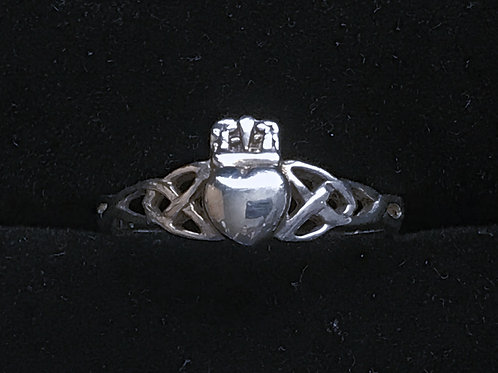 Silver Claddagh with Triple Knot