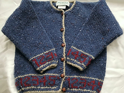 Crana Handknit Children's Sweater Trimmed with Numbers- Light Blue and White