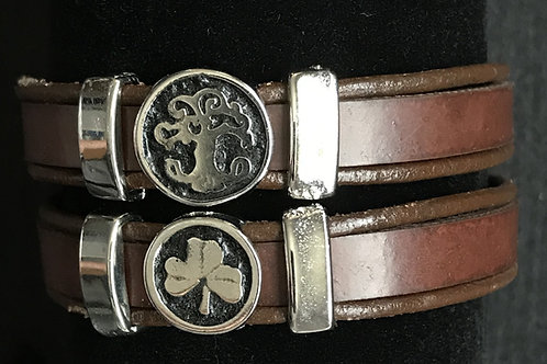 Medium Leather Wristbands with Irish Symbols