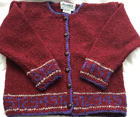 Crana Handknit Children's Sweater Trimmed with Numbers- Red and Purple