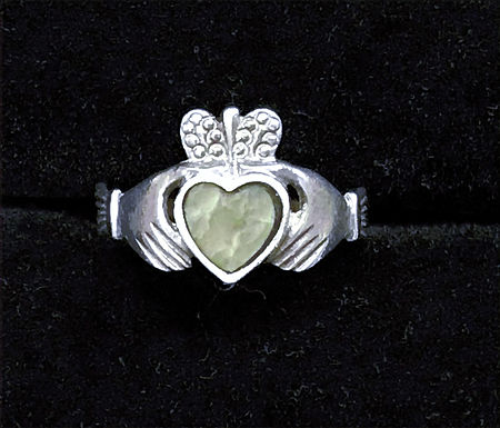 Classic Sterling Silver Claddagh Ring with Connemara Marble