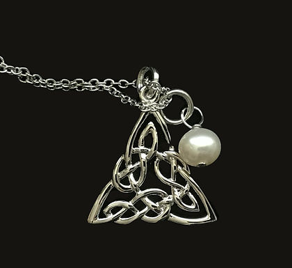 Platinum Plated Celtic Knot Pendant with Bead