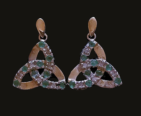 14K Gold Trinity Knot Earrings with Green and Clear Crystals