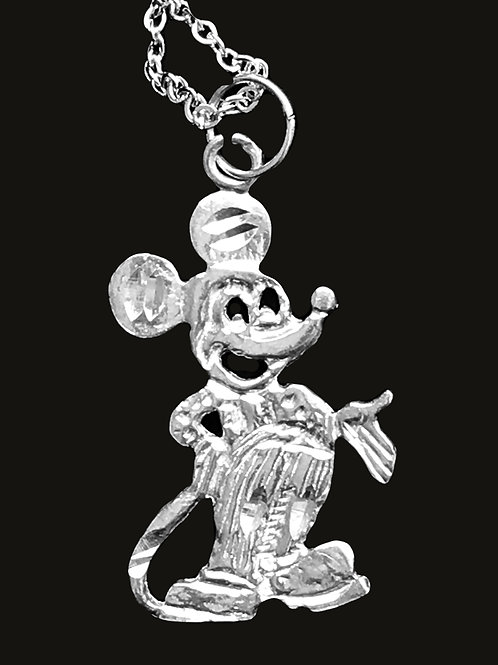 Mickey Mouse Necklace Sterling Silver on chain