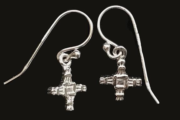 Saint Brigids Cross Drop Earrings - Sterling Silver - Made in Ireland
