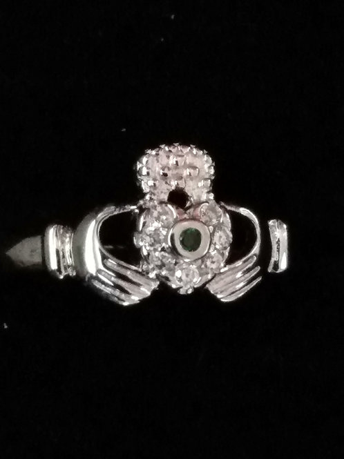 Claddagh Ring with a Clear and Green Chrystal Heart