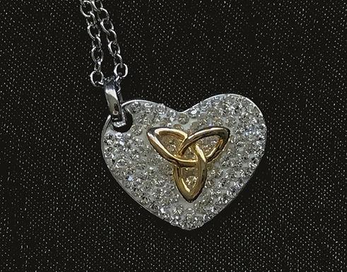 Swarovski Crystal Heart Necklace with Gold Trinity Knot