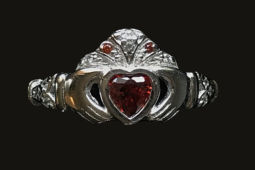 Claddagh Ring with Trinity Knot Sleeves. Red or Blue