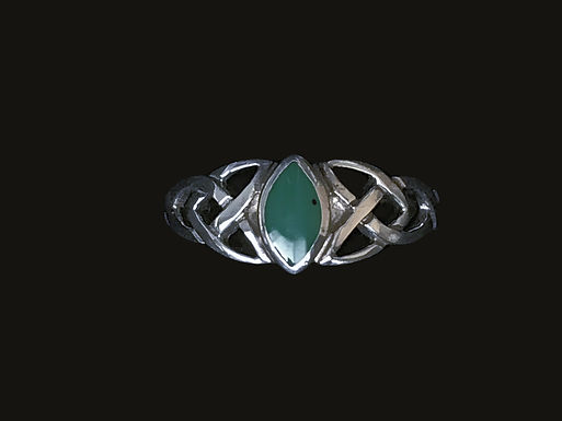 Sterling Silver Celtic Ring with Green Stone
