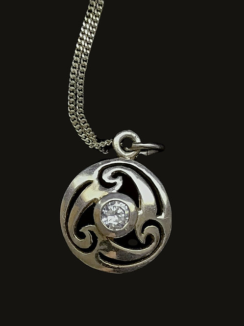 Newgrange Pendant with Clear Crystal