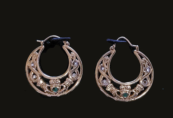 Gold  Plated Claddagh  Hoop Earrings and a Green Chrystal Heart