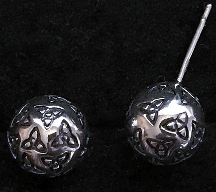 Silver Ball Trinity Knot Stud Earrings