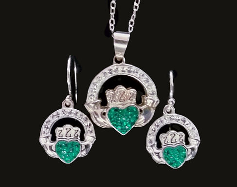 Sterling Silver and Chrystal Claddagh Earrings and Necklace