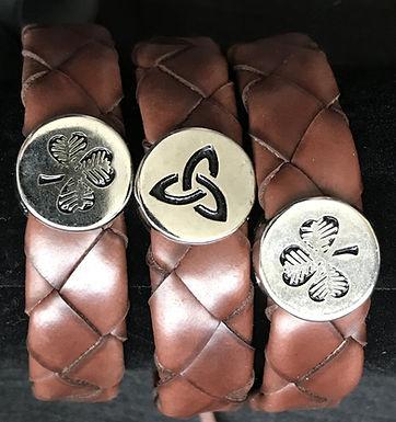 Large Weaved Leather Wristbands with Irish Symbols