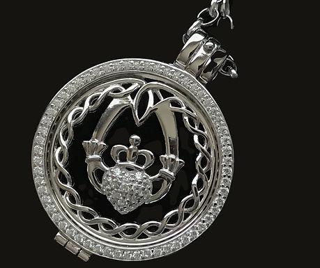 Silver Pendant Celtic Knot Claddagh Disc by Boru