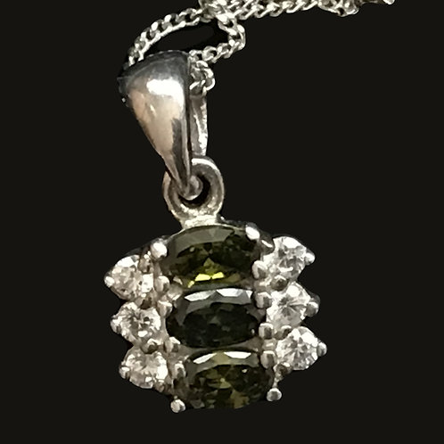Clear and Green Swarovski Crystal