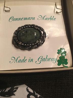 Connemara Marble Silver Broach
