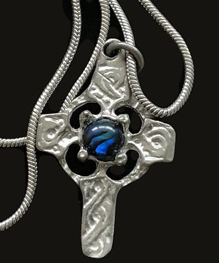 Mullingar Pewter Celtic Cross with a Blue Center Stone