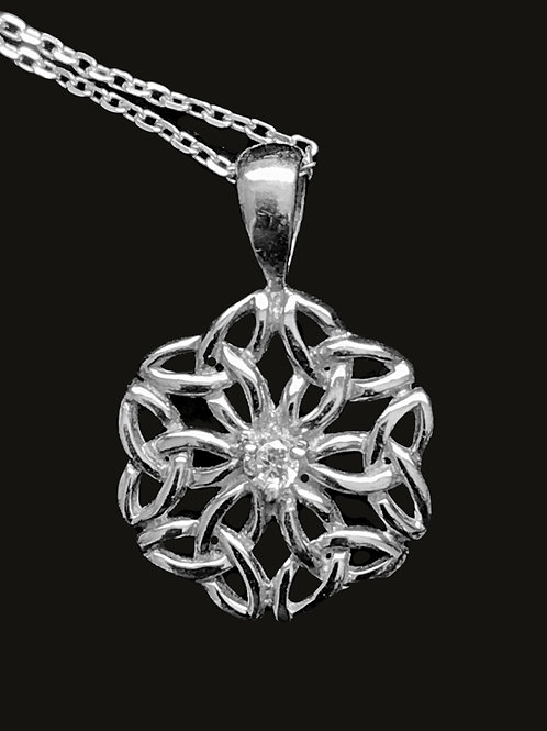 Celtic Knot Pendant with a Clear Center Chrystal