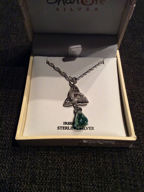 Trinity with white stones necklace hanging green stone on heavy chain Ireland