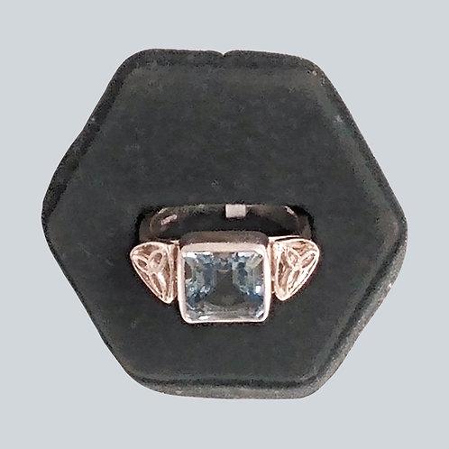Trinity Knot Ring with Aqua Blue Center Stone