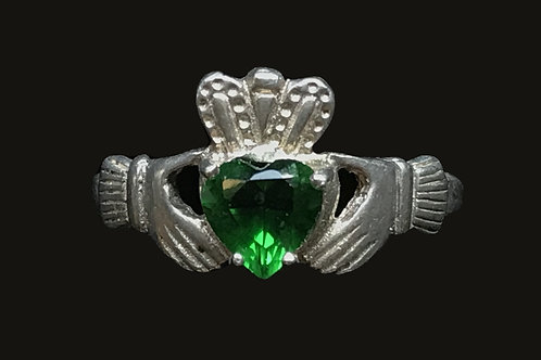 Claddagh Ring with Green Cubic Zirconia