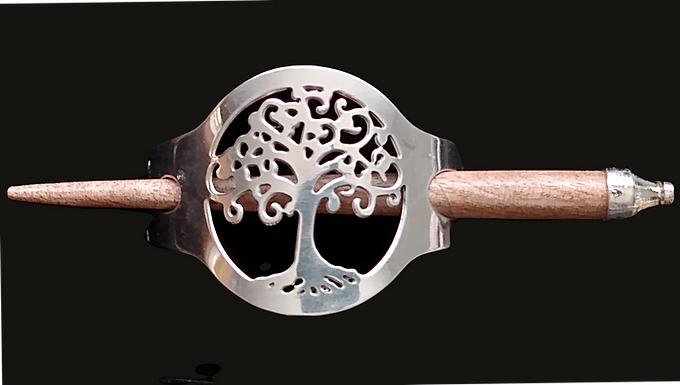 Celtic Silver Plated Tree of Life Wood Hairslide