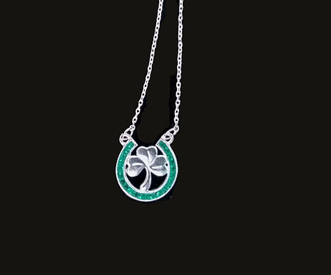 Sterling Silver Shamrock with a Green Chrystal Horseshoe