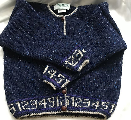 Crana Handknit Children's Sweater Trimmed with Numbers- Dark Blue and White