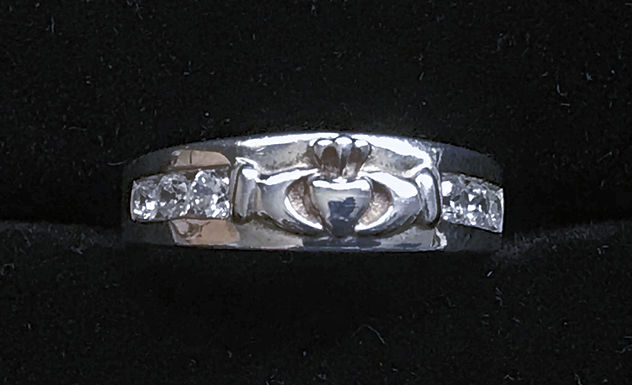 Sterling Silver Claddagh Band with Diamonds