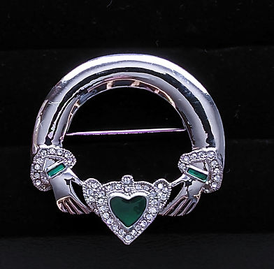Silver Claddagh Pin Green Stone with czs