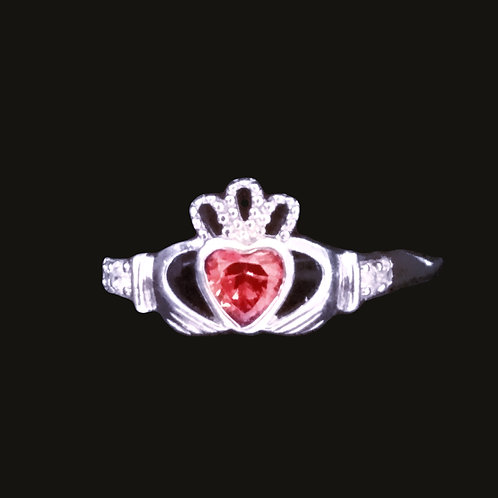 Claddagh Ring with a Red Chrystal Heart