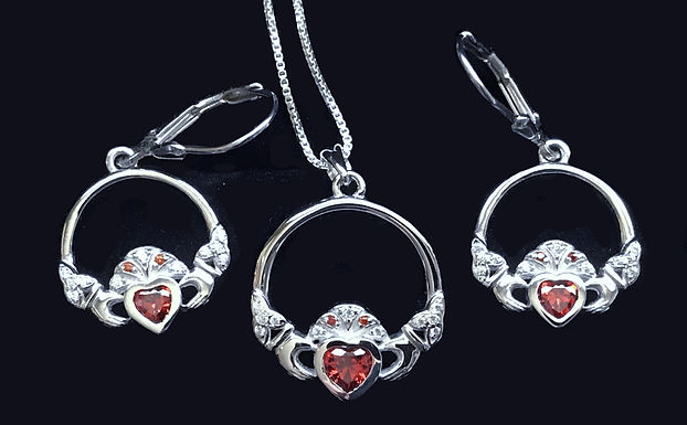 Claddagh Pendant and Earrings with Red Hearts
