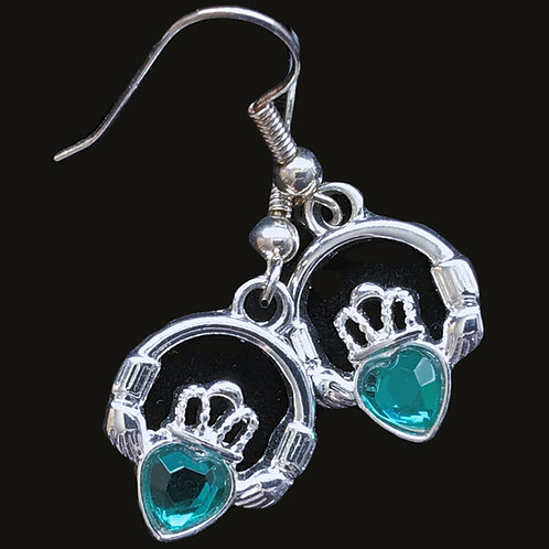 Claddagh Drop Earrings with Green Cubic Zirconia Heart