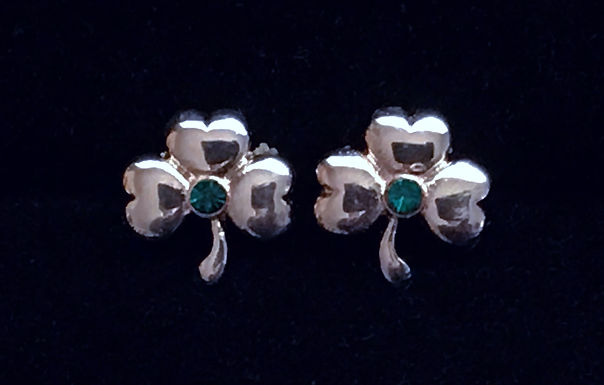 Silver Shamrock Earring with Green Cubic Zirconia