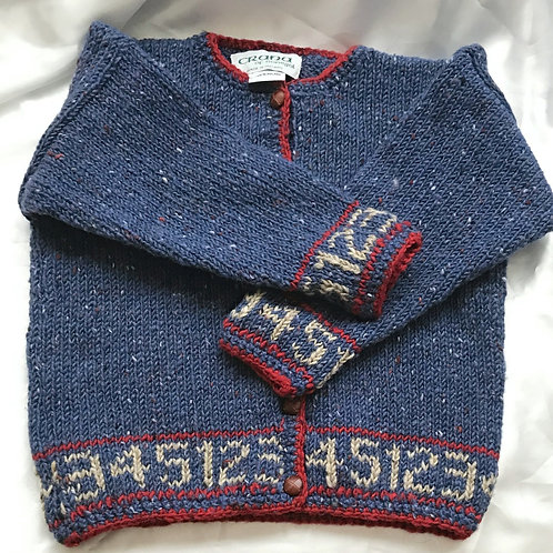 Crana Handknit Children's Sweater Trimmed with Numbers- Light Blue and Red