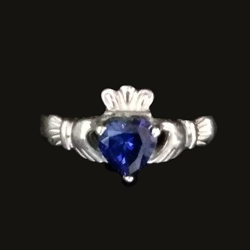 Claddagh Ring with a Blue Chrystal Heart