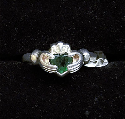 Sterling Silver Claddagh Ring with Green with Cubic Zirconia