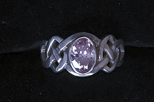 Celtic Knot Ring with Pink Cubic Zirconia