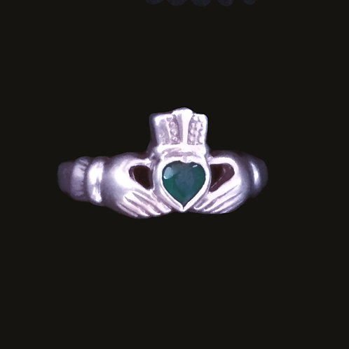 Claddagh Ring with a Green Chrystal Heart