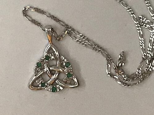 14K White Gold with Diamonds Trinity Knot Pendant