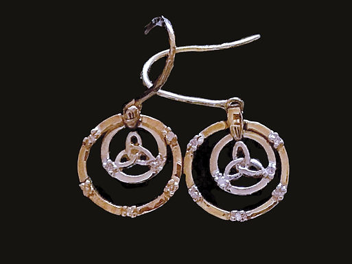 14K Gold with Diamonds Trinity Earrings by ShanOre