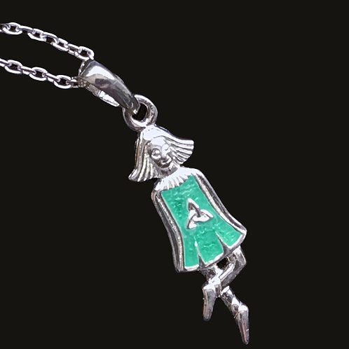 Silver Irish Dancer with Green Enamel Dress