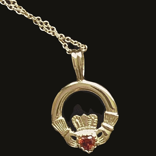 14K Gold Claddagh Necklace with a Ruby Red Hard