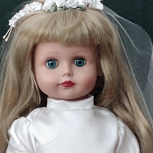 Irish Linen Girl Communion Doll Dress & Veil