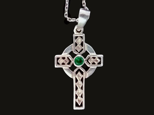 Sterling Silver Celtic Cross with a Center Birthstone