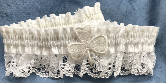Bride's Garter with a Large white shamrock on lace.