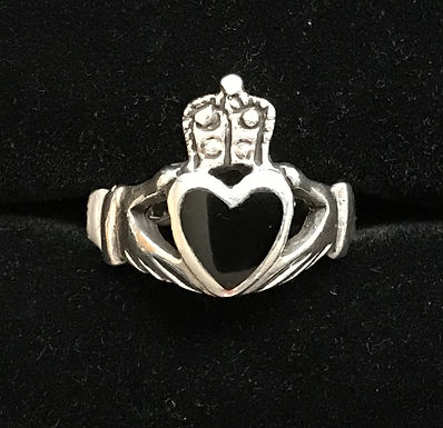 Sterling Silver Claddagh Ring with Black
