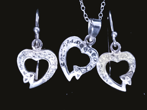 Chrystal Heart with a Trinity Knot Earrings and Pendant